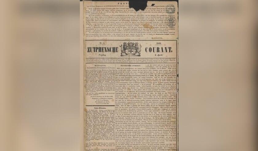 <p>De Zutphense Courant van 6 april 1849. Foto: collectie Erfgoedcentrum Zutphen </p>