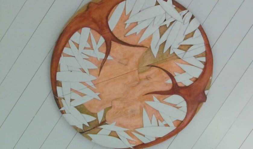 Het kunstwerk van Harry Leurink op het plafond van de Staringkoepel bij Lochem is geïnspireerd door Starings gedicht 'Herdenking', waarin een zwaluw voorkomt. Foto: Arend Heideman