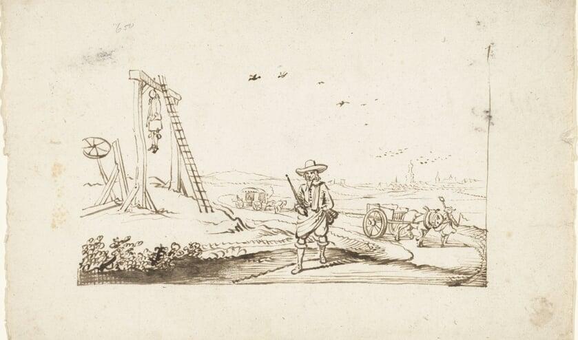 <p>Heer lopend op een landweg langs galgen, Gesina ter Borch, ca. 1654. Bron: Rijksmuseum</p>