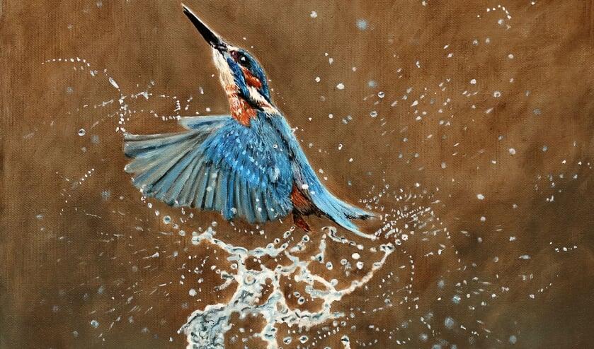 <p>Een blauwe schicht, de bijnaam voor de ijsvogel -de vliegende diamant, door de Engelsen toepasselijk Kingfisher genoemd- die juist ijs als grote vijand heeft, geschilderd door Freddy Nauta. Foto: Freddy Nauta</p>