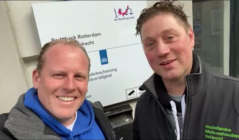 <p>Rutger van Lier en Thijs Wieggers (rechts) bij de rechtbank. Foto: eigen foot</p>