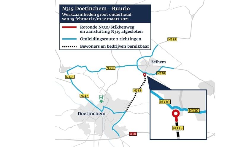 <p>Omleidingsroute voor werkzaamheden aan de N315 Doetinchem-Ruurlo. Beeld: Provincie Gelderland</p>