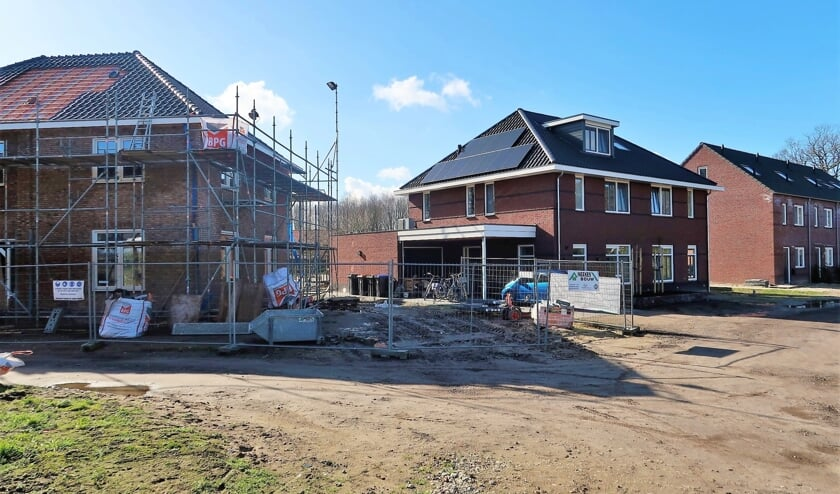 Het nieuwbouwplan 'Wellink' in Zwolle, bestaande uit dertien woningen, vordert gestaag. Foto: Theo Huijskes