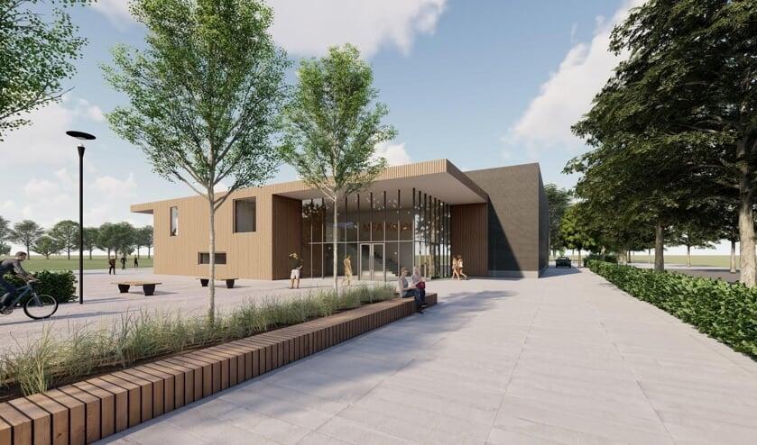 <p>Een impressie van de entree van het nieuwe sportcomplex in Keijenborg. Beeld: ARX Architecten</p>
