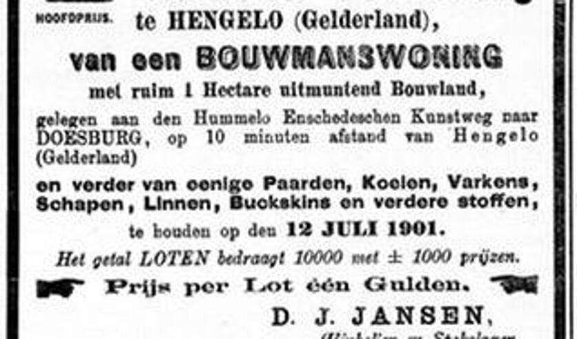 <p>Advertentie in de krant van juli 1901. Foto: Archief Willy Hermans</p>