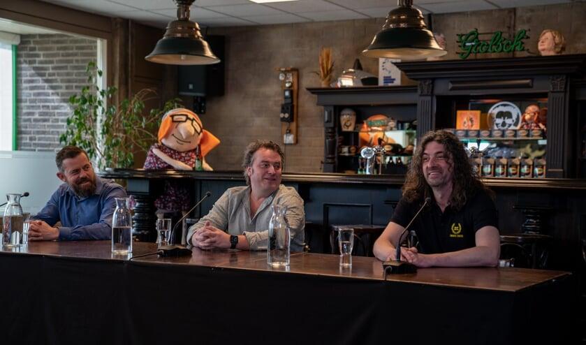 <p>Gijs Jolink, Ronnie Degen en Hendrik Jan Lovink tijdens de online-persconferentie vanuit de Feestfabriek. Foto: PR&nbsp;</p>