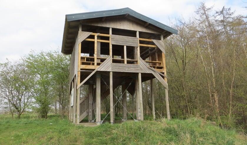 Aan de voorkant van de uitkijktoren zijn diverse planken verwijderd. Foto: Bernhard Harfsterkamp