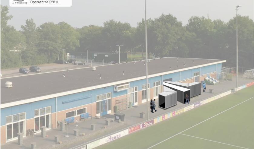 <p>Impressie van het plan van voetbalvereniging Be Quick uit Zutphen om drie vliegtuigslurfen in te zetten om zo de bezoekersstroom te reguleren. Beeld: PR</p>