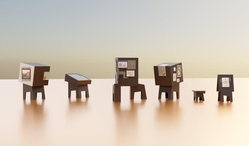 <p>De elementen van de MET maken het mogelijk om gevarieerde tentoonstellingen samen te stellen met objecten, documenten, geluid en bewegend beeld. Artist impression Kunstconstructie </p>