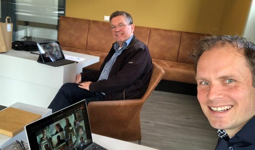 De wethouders tijdens het - voorlopig - laatste koffiemomentje. Foto: eigen foto