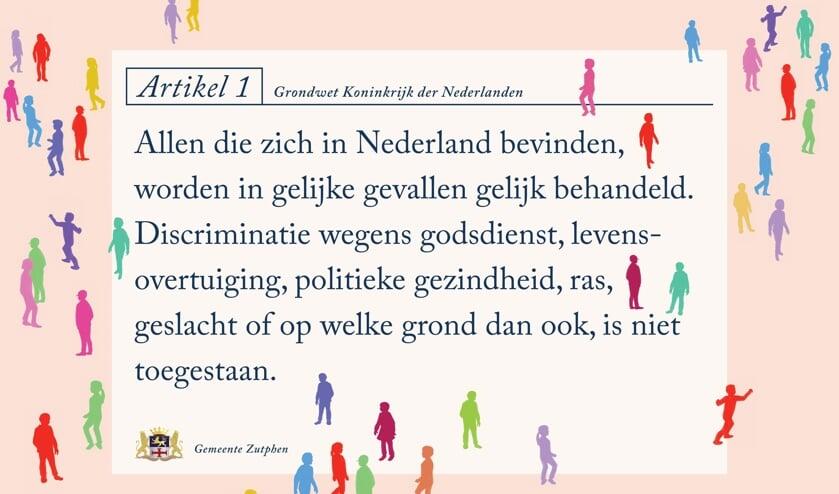 <p>De Zutphense tekenaar Marc Weikamp heeft de tekst van Artikel 1 vormgegeven. Foto: PR</p>