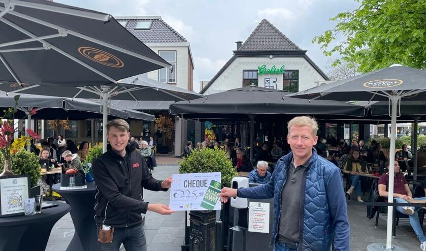 <p>Wout Gerritsen van Markt 5 (l) neemt de cheque in ontvangst van Erik Schuurmans van Rotary Achterhoek Oost. Foto: PR</p>
