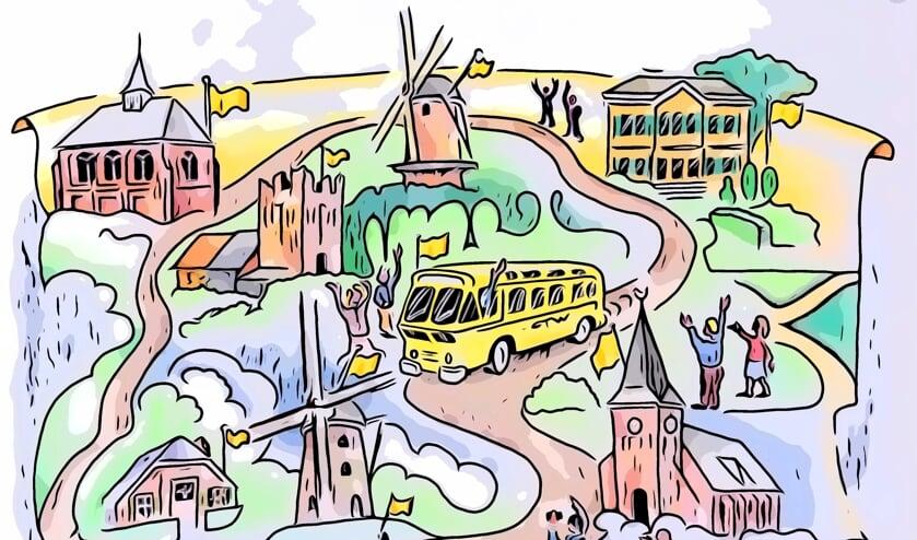 Zwaaien naar de bus tijdens de Open Monumentendagen Bronckhorst in september. Beeld: Gijs Boelaars