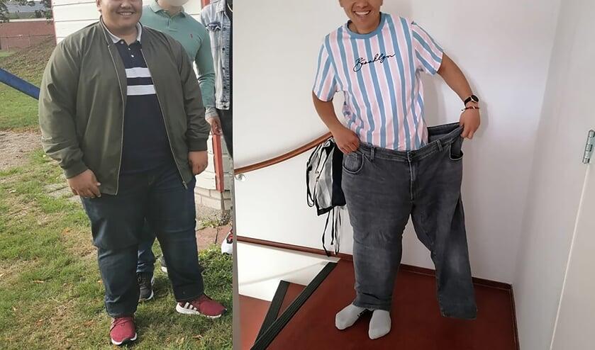 Aäron Loupatty: 'Van meer dan 150 kilo (links) naar twee benen in één broekspijp'. Foto: eigen foto