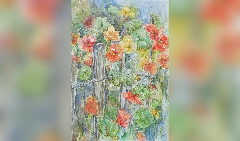 Kleurrijk werk van Diny Boogman. Eigen foto