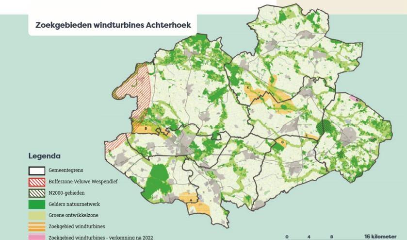 De gebieden waarbinnen gezocht gaat worden naar locaties voor windturbines. Foto: RES Achterhoek