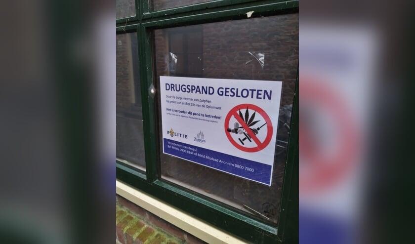 <p>Sluiting drugspand. Foto: gemeente Zutphen</p>