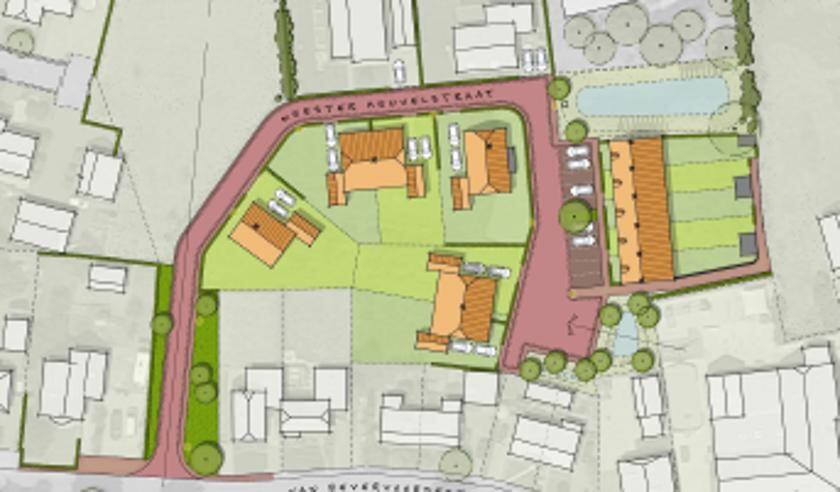 De plattegrond van het gebied, met de nieuwbouw ingetekend. Foto: PR
