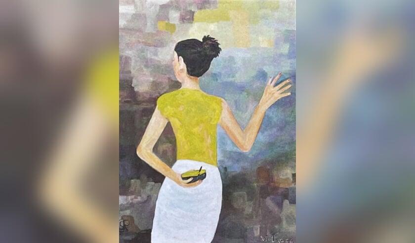 Anneke Groot Roessink uit Laag-Keppel schildert in acryl. Eigen foto