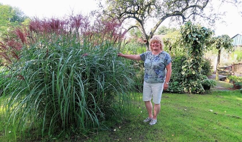 Sylvia Sonderen in de achtertuin van haar woning. Foto: Theo Huijskes