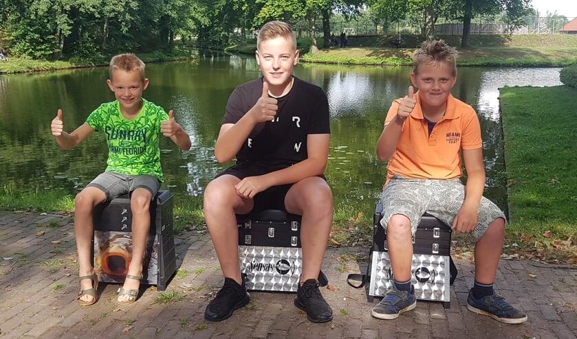 De winnaars  van het Dobberraadspel: Tygo Jansen, Thijn Luttikholt en Bas klein Avinck. Foto: GHV