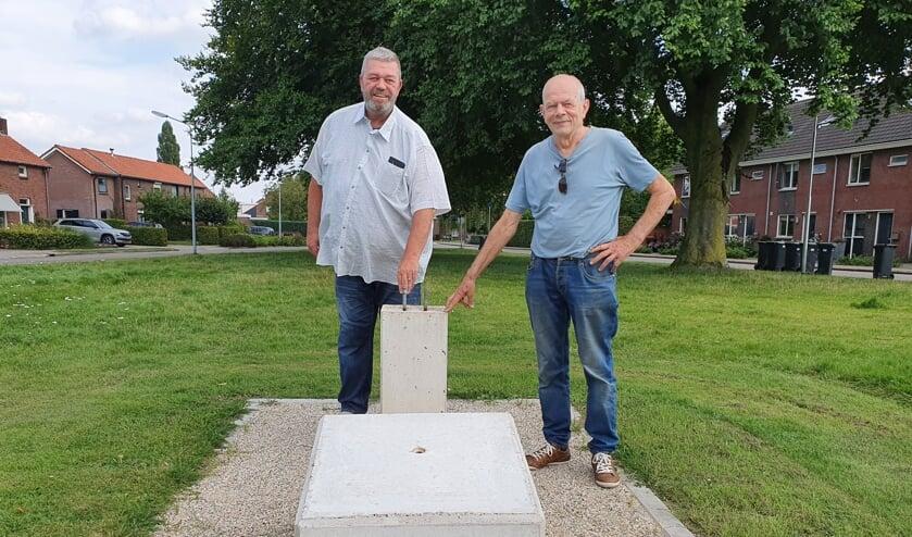 <p>Theo Leemreize (links) en Jan Geerdinck in het Joep ter Haar Plantsoen, op de plek waar het monument &#39;Klein Engeland&#39; zondag onthuld zal worden. Foto: Henri Walterbos</p>