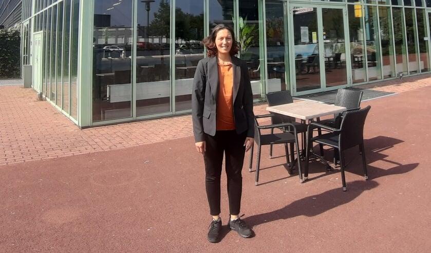 <p>Bioscoopdirecteur Cynthia Marras voor Cinemajestic in Zutphen. Foto: Rudi Hofman</p>
