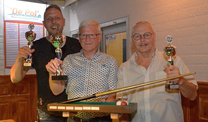 <p>De winnaars van de onderlinge biljartcompetitie 7.0 'De Pol'. Foto: Rob Verkerke</p>