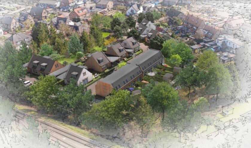Artist-impression van het beoogde woonwijkje met 18 woningen aan de Kokstraat in Eefde. Bron: debunte.nl