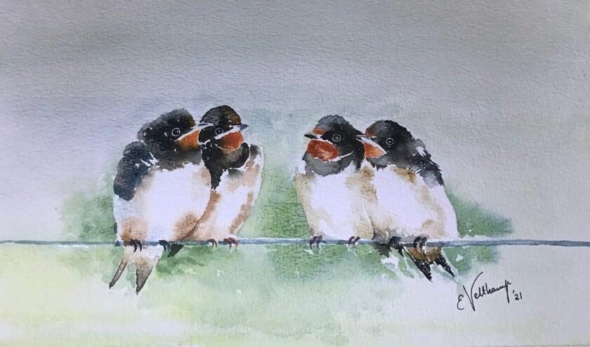 Elles Veltkamp schildert ook veel vogels, zoals deze zwaluwen, die ze toont in Gelselaar. Foto: PR