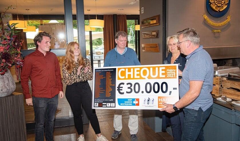 Hans Bruns van Habru Doetinchem (geheel rechts) en Gerard Hendriksen (geheel rechts) overhandigen hun cheques aan Sem Engels (links) en Jip van Dinter. Foto: Martie Seesing