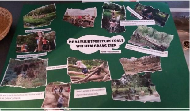 Groep 7 van de Paulusschool had een moodboard gemaakt met al hun wensen voor de natuurspeelplaats.
