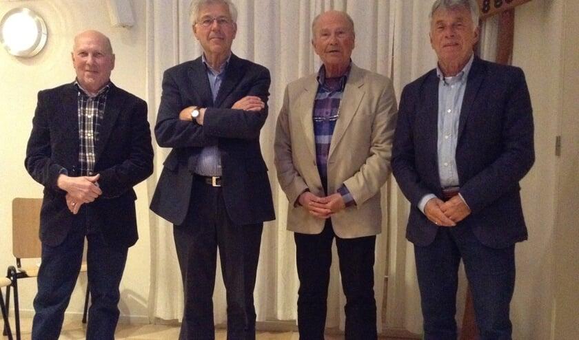 Het voormalige bestuur van Oud Heiloo. Van links naar rechts: Dick Slagter, Piet Kuijper, Piet Stoffers en Wim Buwalda (Foto: Evert Visser).