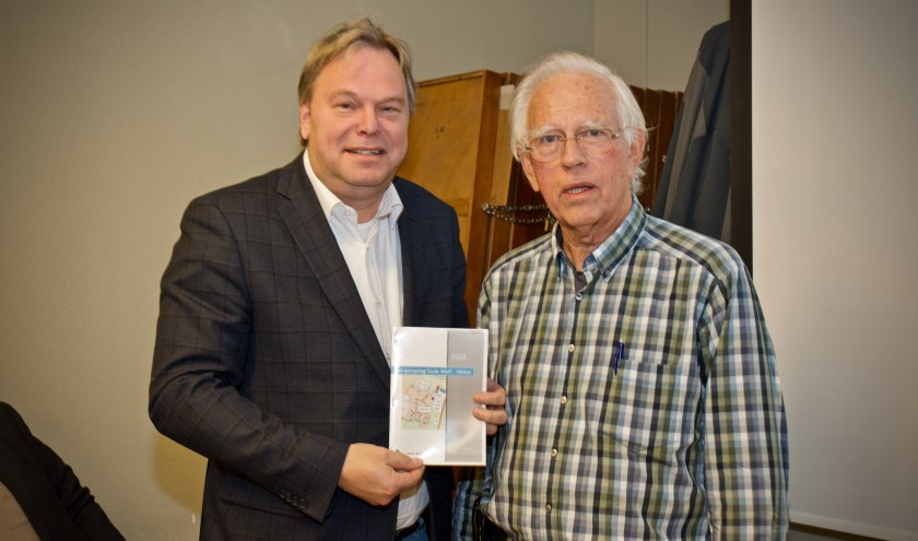 Harm Hofman reikt het rapport 'Energieopslag Oude Werf Heiloo' uit aan wethouder Rob Opdam.