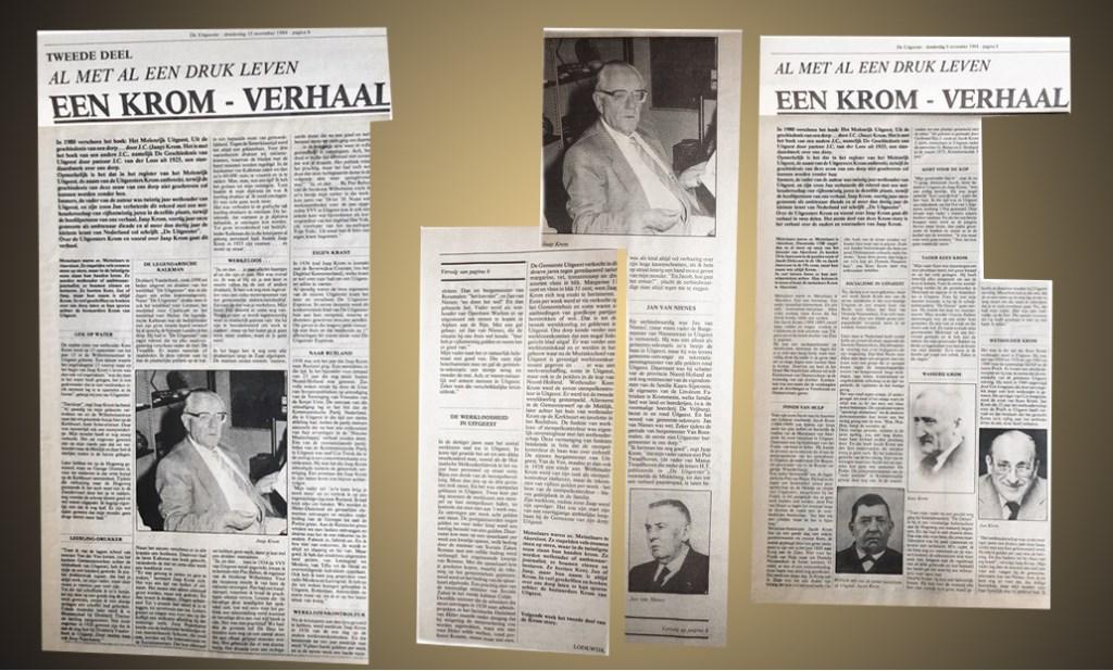 Krantenknipsels over de familie Krom