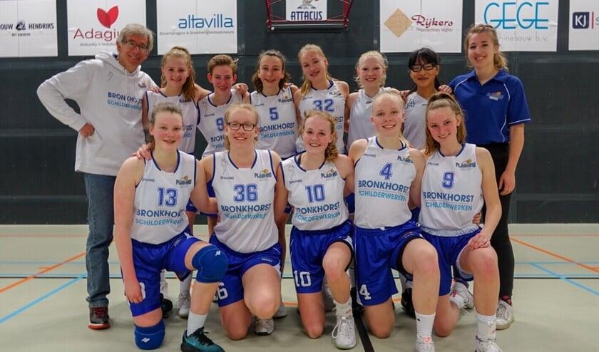 De meiden hopen zaterdag 11 mei natuurlijk ook de returnwedstrijd in sporthal 't Vennewater te winnen.