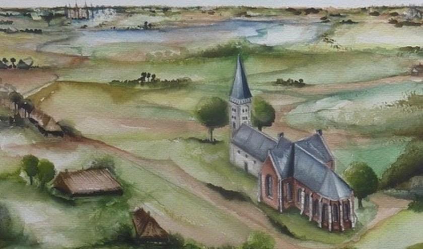 De Witte Kerk van Heiloo in de eerste helft van de vijftiende eeuw. Aquarel van Marianne Eugster.