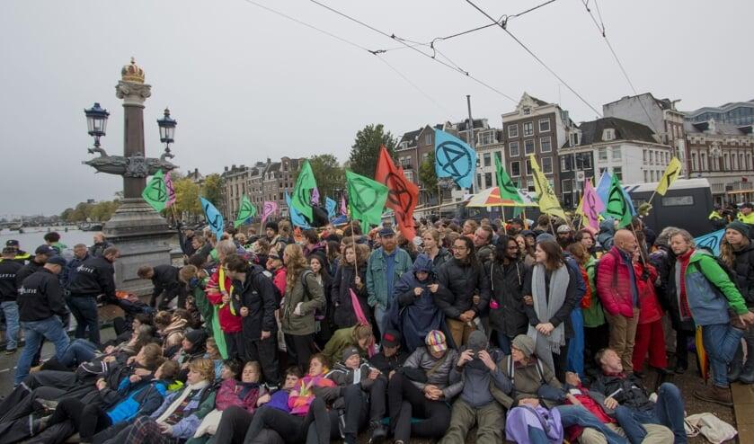 Extinction Rebellion tijdens een protest in Amsterdam op 12 oktober 2019.