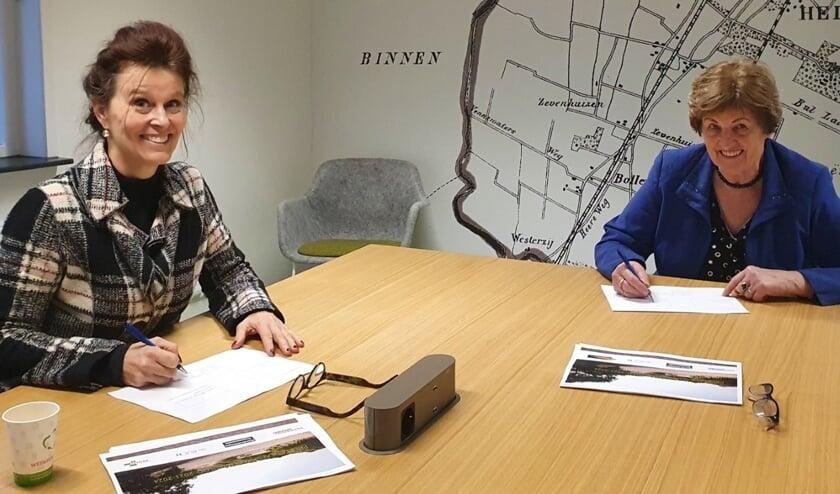 Krista Walter (links) directeur-bestuurder van Kennemer Wonen en Gerda Kuyper namens de huurdersorganisaties,ondertekenen de prestatieafspraken. In verband met de maatregelen rondom Corona, vindt ondertekening namens de gemeentenplaats op afstand