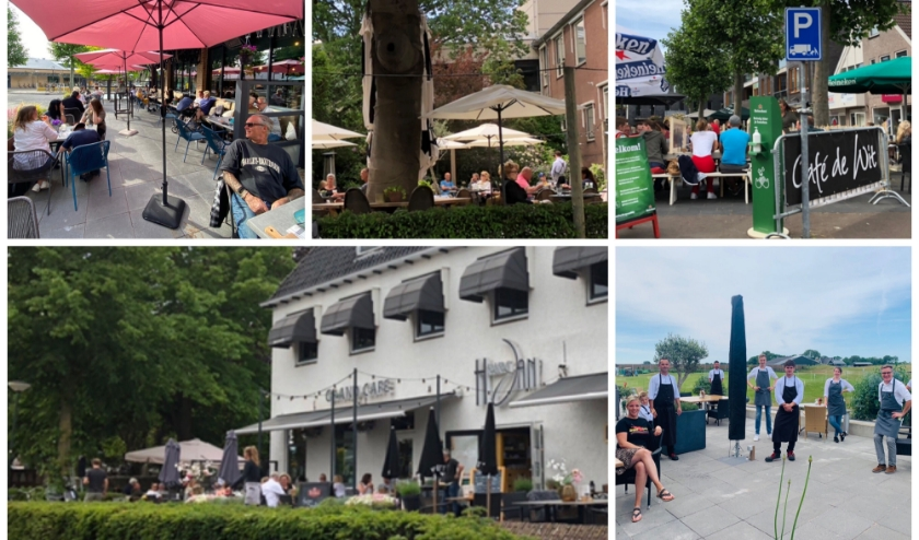 Met de klok mee: Restaurant Spijkers, Bar Restaurant De Kamer, Café de Wit, Brasserie in 't Groen (vlak voor opening) en Herberg Jan.