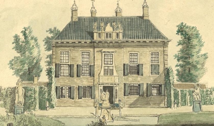 Afbeelding met vier beelden op dakkapel van Nijenburg J.A. Crescent, 1811, RAA Alkmaar