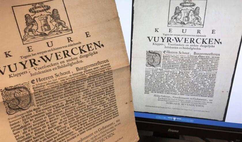 Een verordening over vuurwerk (1695).