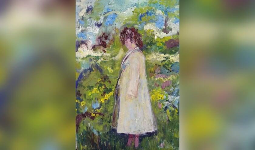 <p>Een uitsnede van een schilderij van Afra van der Peet.</p>