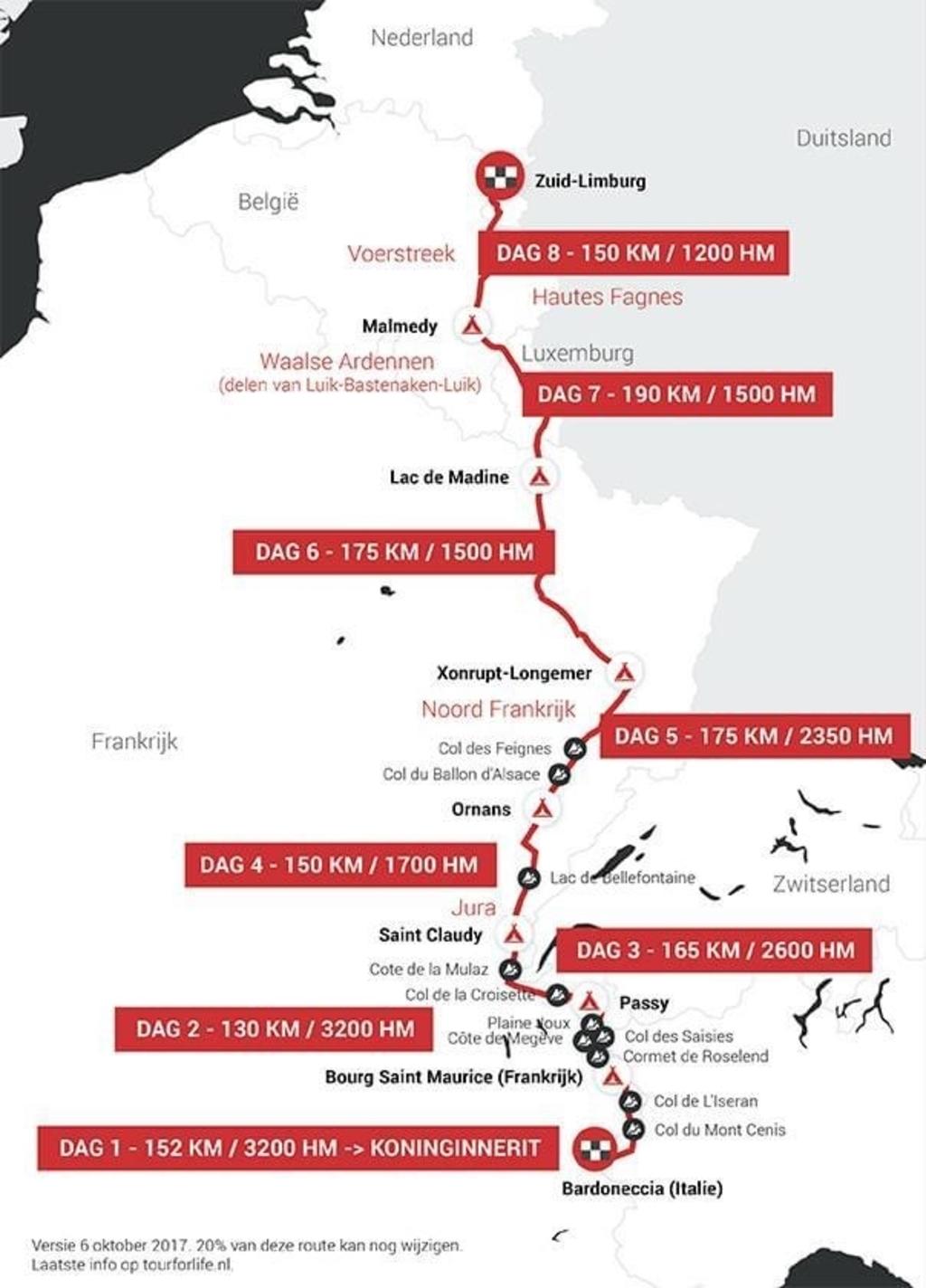 De volledige route in kaart. Foto: Tourforlife.nl © Uitkijkpost Media Bv.