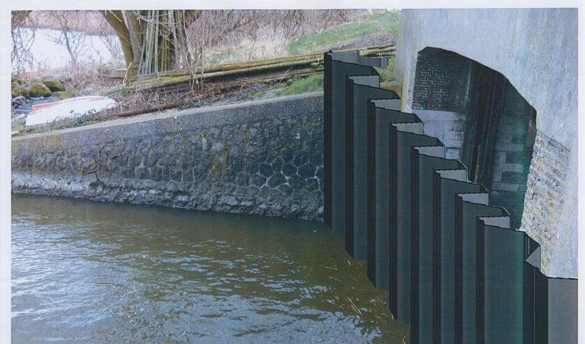Een artist impression van de metalen damwand tegen de sluis.