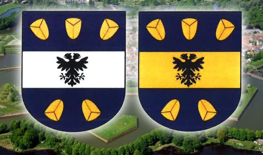 Links het wapen dat de voorkeur heeft van de Hoge Raad van Adel, rechts de tweede keuze.