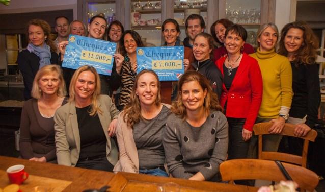 De dames van Rotaryclub Blaricum-Centaurea en vertegenwoordigers van de goede doelen.