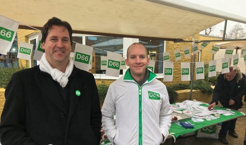 Ook vorig jaar stond D66 op de markt met oliebollen.