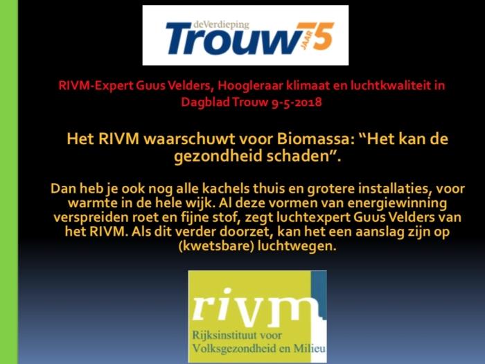 Uitspraak RIVM in Dagblad Trouw