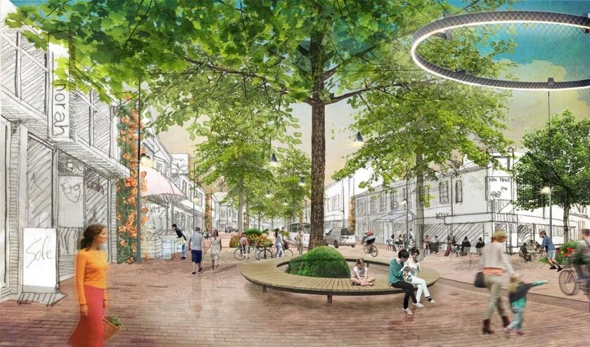 Een wensbeeld voor de Gijsbrecht van Amstelstraat, hier met de hoek van de Ericastraat (rechts).